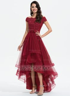 A-Line Off-the-Shoulder Asymmetrical Tulle Evening Dress With Beading Sequins Bow(s) - Evening Dresses - JJ's House Frock Fashion, Fashion Dresses, Lace Gown Styles, Reception Gown, Tulle Bridesmaid Dress, Tulle Wedding, Wedding Dresses, Custom Dresses, Asymmetrical Dress