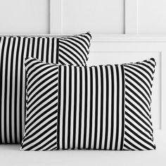 The Emily & Meritt Cabana Stripe Standard Pillowcase, Black/White