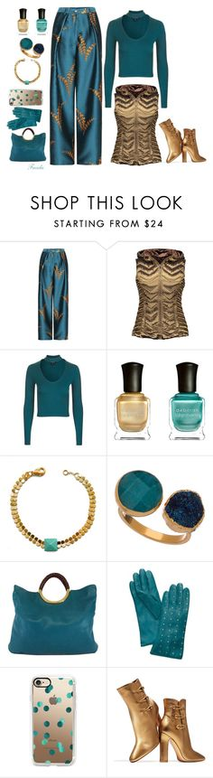 """""""Gold and Teal"""" by freida-adams ❤ liked on Polyvore featuring Blanc Noir, Topshop, Deborah Lippmann, Loshy, Janna Conner Designs, Michael Kors, Tory Burch, Casetify and Gianvito Rossi"""