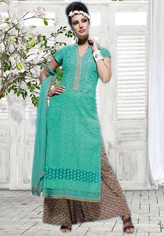 Sea Green Cotton Palazzo Suit - Women
