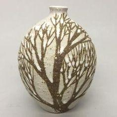 Andersen Design Studio Stoneware Art Pottery Winter Tree Scene Oval Bud Vase