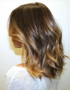 Shoulder length chestnut with minimal caramel ombre highlights. Love. This. ...and I've NEVER dyed my hair...eek!