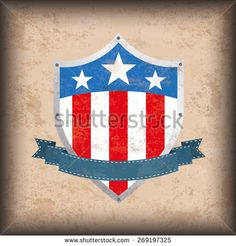 Vintage independence day background design with brown colors and US-Flag shield. Eps 10 vector file.