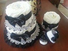 Black And White Damask Stackable Diaper Cake / Unique Diaper Cake / Elegant Diaper Cakes