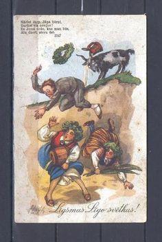 "Latvia Ernst P. LIGO svetki night festival Midsummer night festivities by APSITS national costumes humor 1937 Ulmanis "" Postcards For Sale, Vintage Postcards, Old Antiques, More Pictures, North America, Riga Latvia, Lettering, Costumes, Humor"