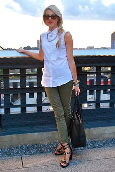 army green pants denim basics easy style
