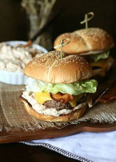Caramelized Onion Dip Burger...a simple burger topped with a new verion of the classic Onion Soup Dip! from @cookiesandcups