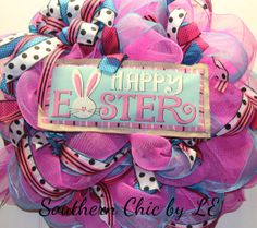 Happy Easter Burlap Mesh Wreath by southernchicbyle on Etsy, $52.00