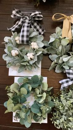 Our mini wreaths add a pop of greenery to your space. On chair backs, cabinets, windows and mirrors there are so many ways to style these! Diy Fall Wreath, Summer Wreath, Holiday Wreaths, Holiday Crafts, Christmas Tree Lots, Christmas Minis, Christmas Decorations, Greenery Wreath, Dollar Tree Crafts