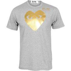 Comme Des Garcons PLAY Mens Gold Foil Heart T-Shirt Grey  ... via Polyvore