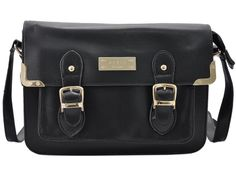 satchel messenger bag with front gold metal and detail