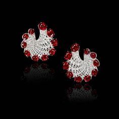 """Natural Burmese rubies are set along a helix of marquise-shaped diamonds forming a pair of modern """"hoop"""" earrings. Ruby Earrings, Diamond Earrings, Hoop Earrings, Burmese Ruby, Lotus Jewelry, Mind Blown, Hong Kong, Origami"""