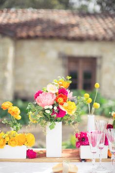 Bright colored florals