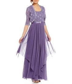 Color:Lavender - Image 1 - R & M Richards Sequined Lace & Chiffon Jacket Dress Mob Dresses, Formal Dresses For Women, Plus Dresses, Fashion Dresses, Women's Fashion, Chiffon Jacket, Chiffon Skirt, Jacket Dress, Lace Chiffon