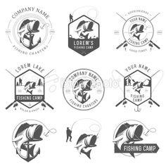 Set of vintage fishing labels, badges and design elements Royalty Free Stock Vector Art Illustration