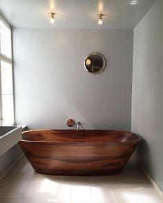 Never knew we needed a wooden bathtub until now. Epic decor inspiration from… Wood Tub, Wood Bathtub, Wooden Bathroom, Diy Bathtub, Bathtub Ideas, Wooden Ceilings, Wooden Walls, Beautiful Bathrooms, Diy Woodworking