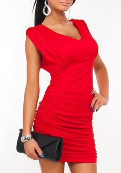 Sexy Scoop Neck Sleeveless Solid Color Ruched Women's DressBodycon Dresses   RoseGal.com
