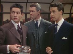 Farley Granger, James Stewart, and John Dall in ROPE (1948). Directed by Alfred Hitchcock.