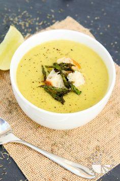 Creamy Roasted Asparagus Soup #vegan #glutenfree   www.VegetarianGastronomy.com