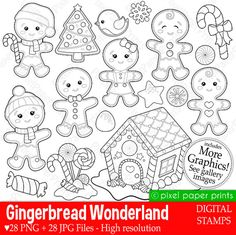 Gingerbread Wonderland- Digital stamps set - Gingerbread clipart