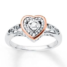 Kay - Diamond Heart Ring 1/8 ct tw Diamonds Sterling Silver/10K Gold