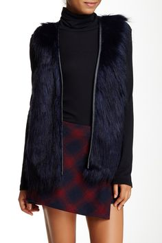 Love On A Hanger - Pleather Trim Faux Fur Vest at Nordstrom Rack. Free Shipping on orders over $100.