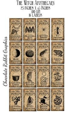Clip Art for Halloween Witch Potion Bottle Labels Tags - Original Design Vintage Printable Apothecary Jar Images - Aged version The labels are Halloween Tags, Halloween Potion Bottles, Halloween Party Snacks, Theme Halloween, Holidays Halloween, Vintage Halloween, Halloween Crafts, Halloween Decorations, Vintage Witch
