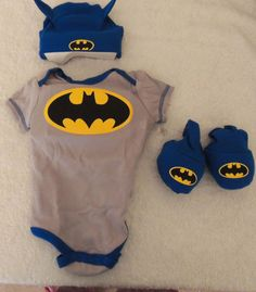 NEW Batman Size 0-6M Set, Gray One Piece, Blue Hat, Booties, Baby Shower Gift