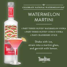 Watermelon Martini, tastes just like a watermelon jolly rancher. I used 2 oz watermelon vodka, 1 1/2 oz triple sec & 2 oz cranraspberry juice.
