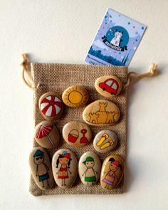 Unicatella: Kamykowe opowiastki by Unicatella Stone Crafts, Rock Crafts, Crafts To Sell, Arts And Crafts, Art For Kids, Crafts For Kids, Painted Rocks, Hand Painted, Story Stones