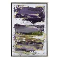 Aubergine, gold and green dance dramatically on canvas in this exclusive Z Gallerie print.