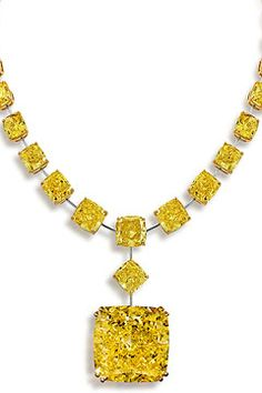 Tsarina diamond: a 90.14-carat fancy intense yellow cushion cut pendant set into a necklace of fancy vivid yellow radiant-cut diamonds.