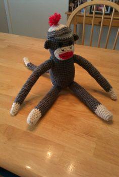 Crocheted Sock Monkey (my own pattern/free form)
