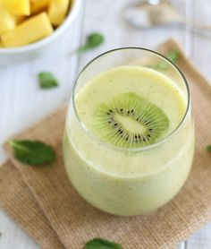 This pineapple kiwi mint smoothie is like a taste of the tropics with every sip.
