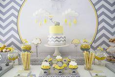 Decoração de festa cinza e amarelo