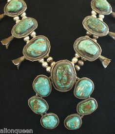 Vintage NAVAJO Blue/Green TURQUOISE Sterling Silver SQUASH BLOSSOM NECKLACE ******SOLD******