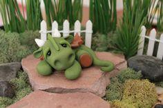 Polymer Clay Dragon Miniature Dragon Clay Dragon by GnomeWoods Polymer Clay Fairy, Polymer Clay Dragon, Fimo Clay, Terrarium, Clay Bear, Clay Fairies, Fairies Garden, Dragon Miniatures, Fairy Garden Accessories