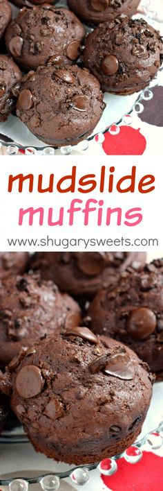 Double the chocolate, crushed espresso beans, and some vanilla greek yogurt make these Mudslide Muffins the perfect breakfast!