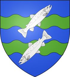 Coat of arms of Mont-Saint-Michel city (Normandy) : azure two bars wavy vert, overall two salmons argent in bend sinister placed palewise, the upper one facing sinister