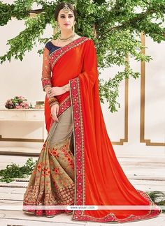 Divine Georgette Beige And Red Resham Work Half N Half  Saree Model: YOSAR8541