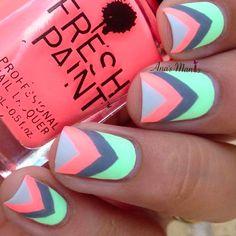 - best nail art cool nail designs, chevron nail designs, toe n Chevron Nail Designs, Chevron Nails, Cute Nail Designs, Nail Polish Designs, Gel Polish, Spring Nail Art, Nail Designs Spring, Spring Nails, Spring Design