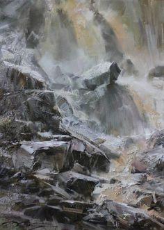 """At the Waterfall"" 70x50, 2015 - Denis Oktyabr"