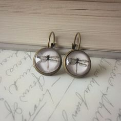 Dragonfly Glass Cabochon Earrings