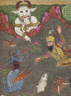 Houghton Library, Harvard University, MS Persian 78, detail of f. 249v (Div-e Sepid or White Demon). Firdawsī. Shāhnāmah. 1718-1721. Painters: ʻAbd al-Salām Kashmīrī and ʻAbd al-Karīm Kashmīrī.