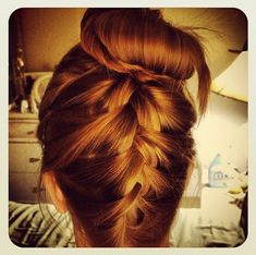 upside down braid, sock bun