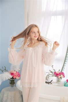 5ef1f8007b Melody Fair Modal Lace Comfy Vintage Style Night Suit Women
