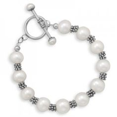 Pearl and Bali Bead Toggle Bracelet