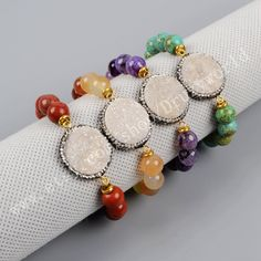 1Pcs Round Shaped Natural Agate Titanium AB Druzy Geode Connector Bracelet Pave Zircon Crystals With 10mm Gemstone Beaded Handmade Jewelry by Druzyworld on Etsy