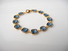 Gold And Navy Crystal Bracelet