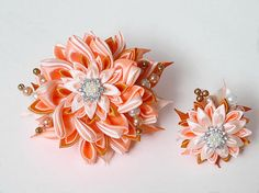 Light Peach Kanzashi Fabric Flower set of Hair by Elizasdreams